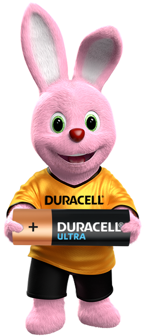 Duracell Bunny holding the Ultra Alkaline Battery in his hands