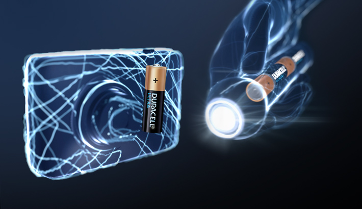 Illustration of Duracell Batteries used in digital cameras and flashlights
