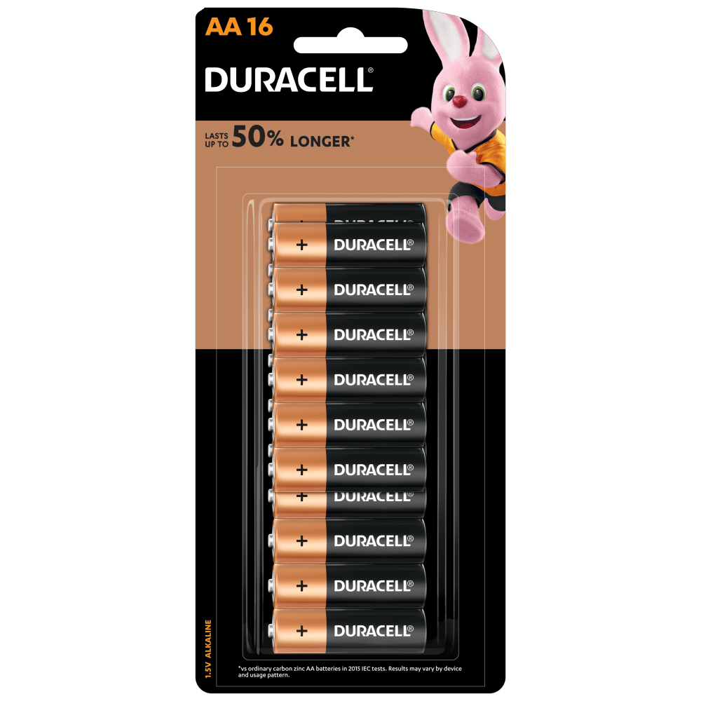 Duracell Alkaline AA size Batteries in a 16-piece pack
