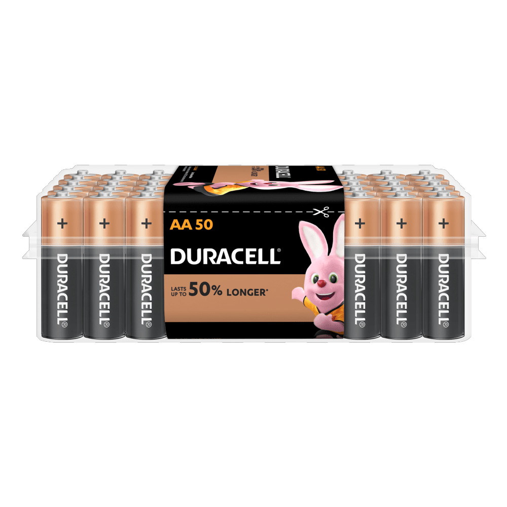 Duracell Alkaline AA size Batteries in a 50-piece pack