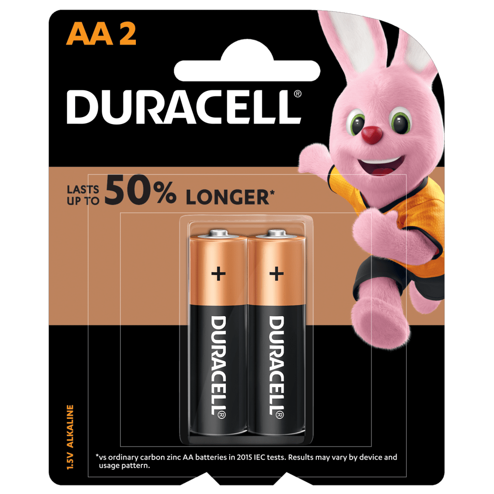 Duracell Alkaline AA size Batteries in a 2-piece pack