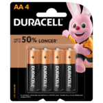 Duracell Alkaline AA size Batteries in a 4-piece pack