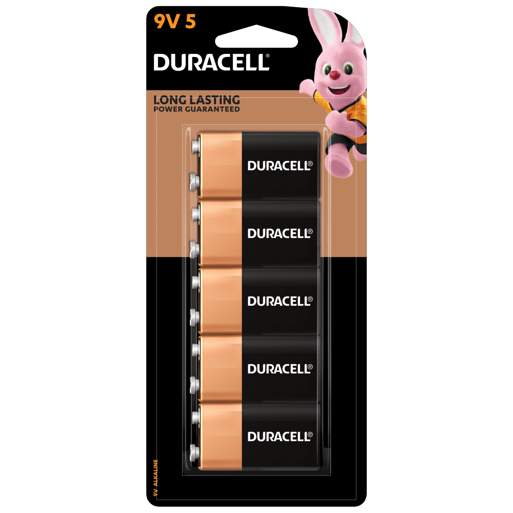 Duracell 9V Alkaline Battery in a 5-piece pack