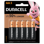 Duracell Alkaline AA size Batteries in a 5-piece pack