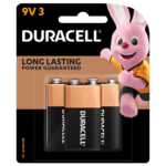 Duracell 9V Alkaline Battery in a 3-piece pack