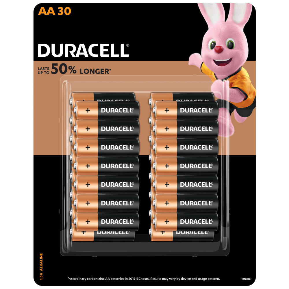 Duracell Alkaline AA size Batteries in a 30-piece pack