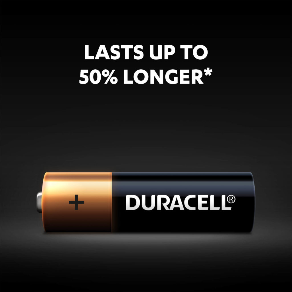 Duracell Alkaline AA size Batteries lasts up to 50% longer than competition