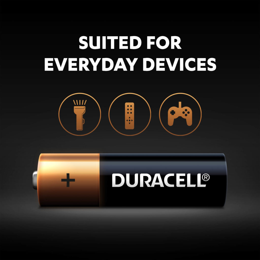 Duracell Alkaline AA sized Battery is suited for everyday devices
