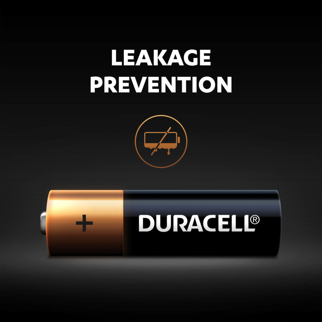 Duracell Alkaline Batteries leakage prevention feature illustrated
