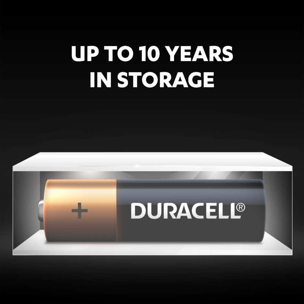 Duracell Alkaline AA size Battery can stay fresh and powered for up to 10 years in ambient storage