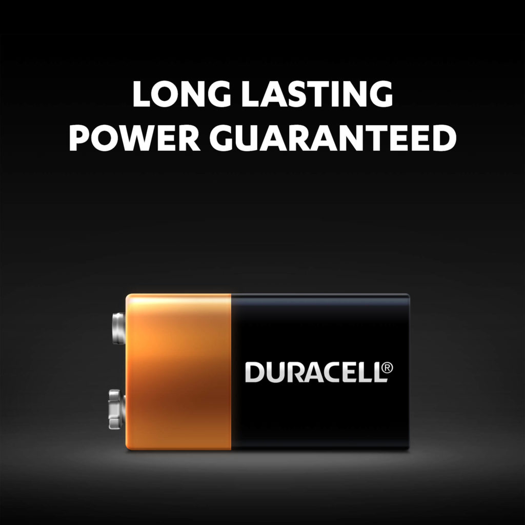 Duracell Alkaline 9V Batteries come with long-lasting power guaranteed