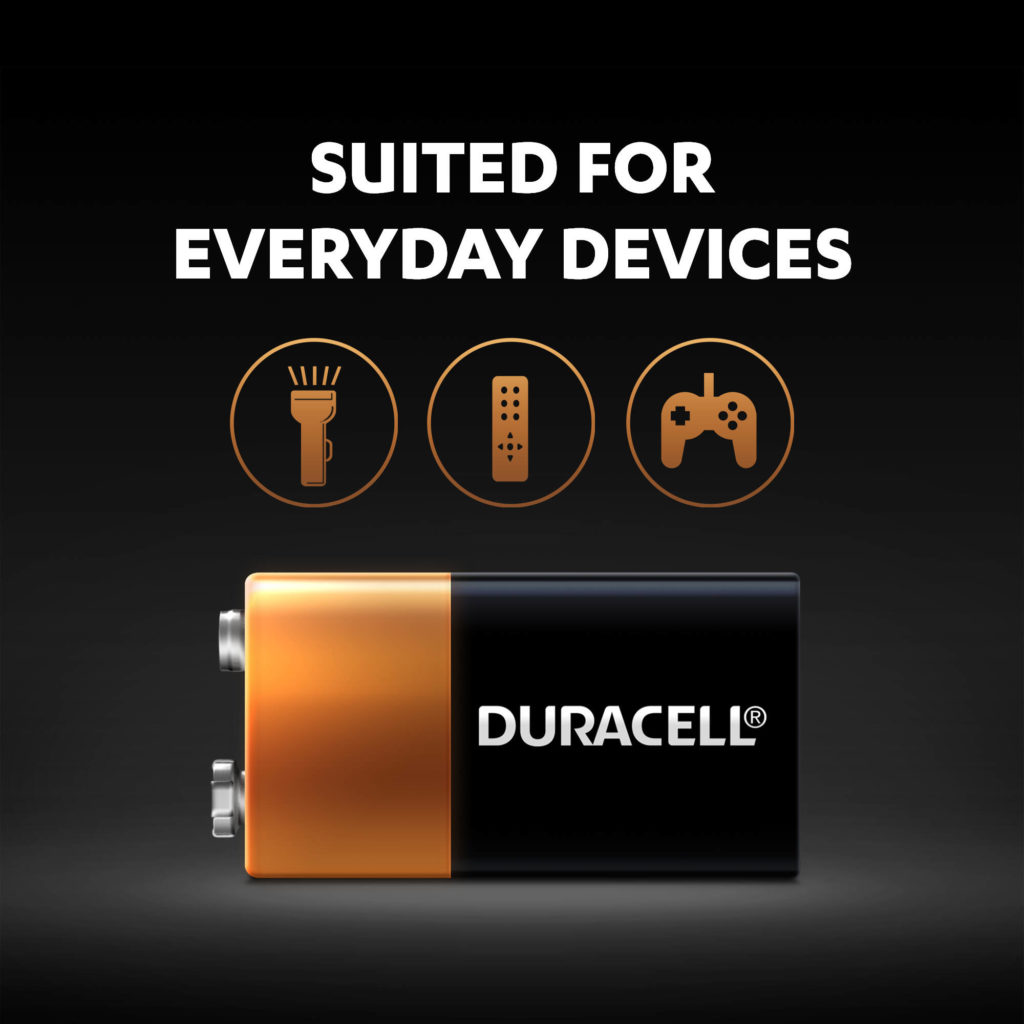 Duracell 9V Alkaline Batteries are suited for everyday devices
