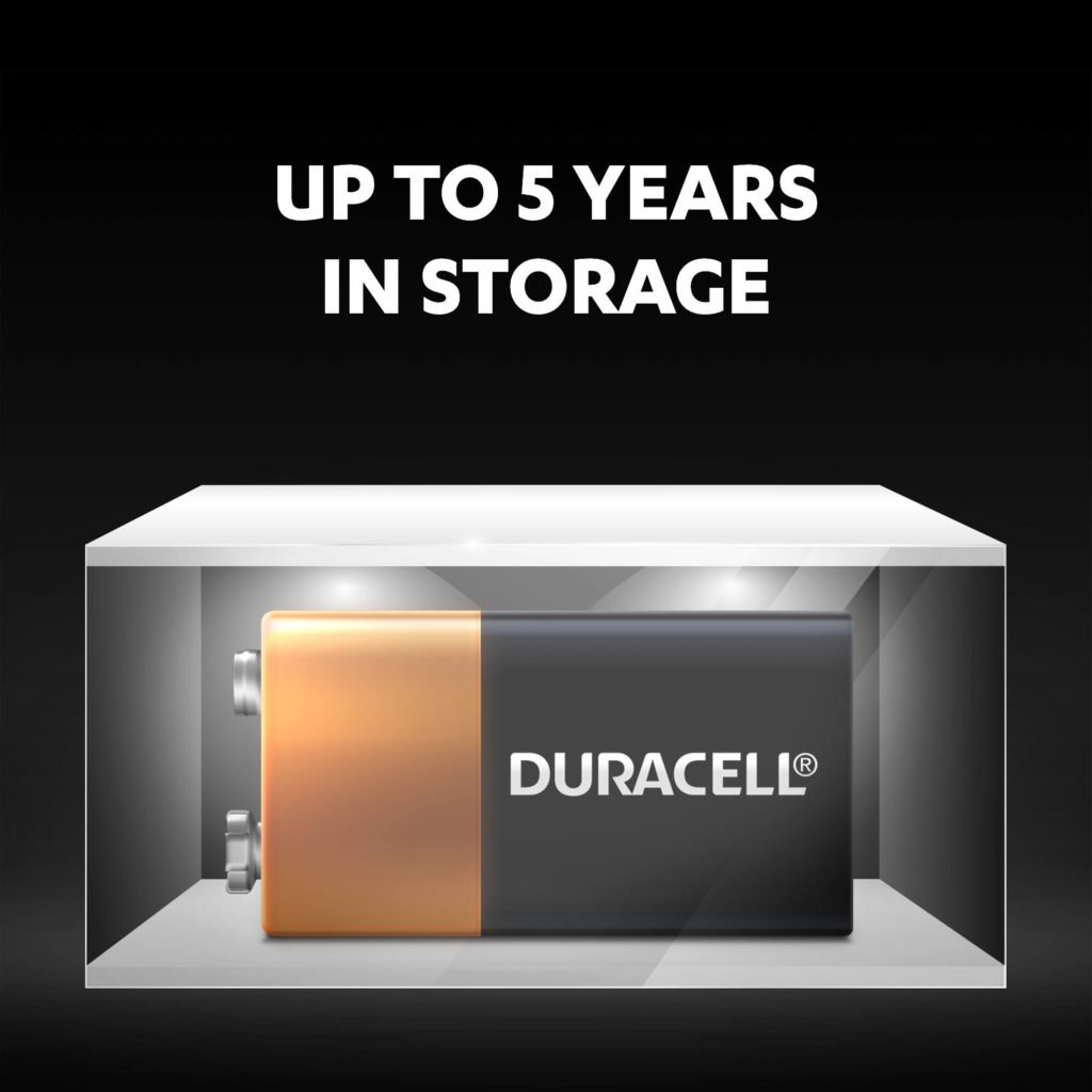Duracell 9V Alkaline Batteries stay fresh and powered for up to 5 years in ambient storage