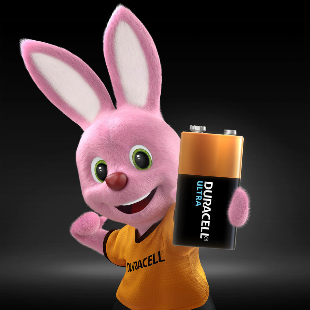 Duracell Pink Bunny holding Ultra Alkaline 9V Battery