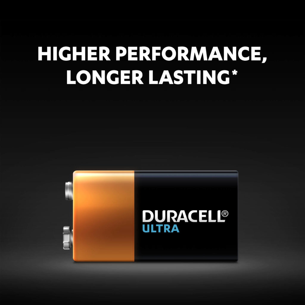 Duracell Ultra Alkaline 9V Battery has higher performance and it lasts longer than competition