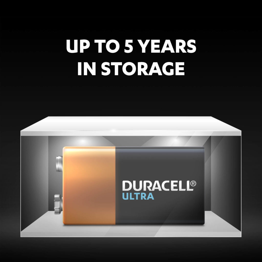 Unused Duracell Alkaline Ultra 9V Batteries stay fresh and powered for up to 5 years in ambient storage