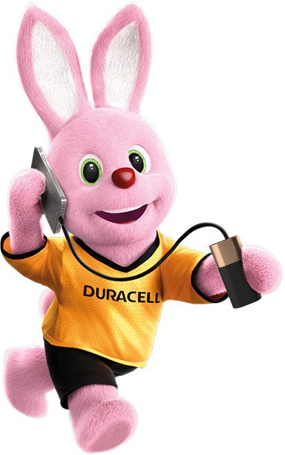Duracell Pink Bunny on the run powering his mobile phone using Powerbank 6700mAh