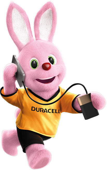Duracell Pink Bunny on the run powering his mobile phone using Powerbank 10050mAh