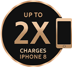 Up to 2x charges of iPhone 8 icon