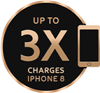 Up to 3x Charges iPhone 8 icon