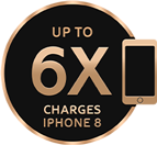 Up to 6x Charges iPhone 8 icon