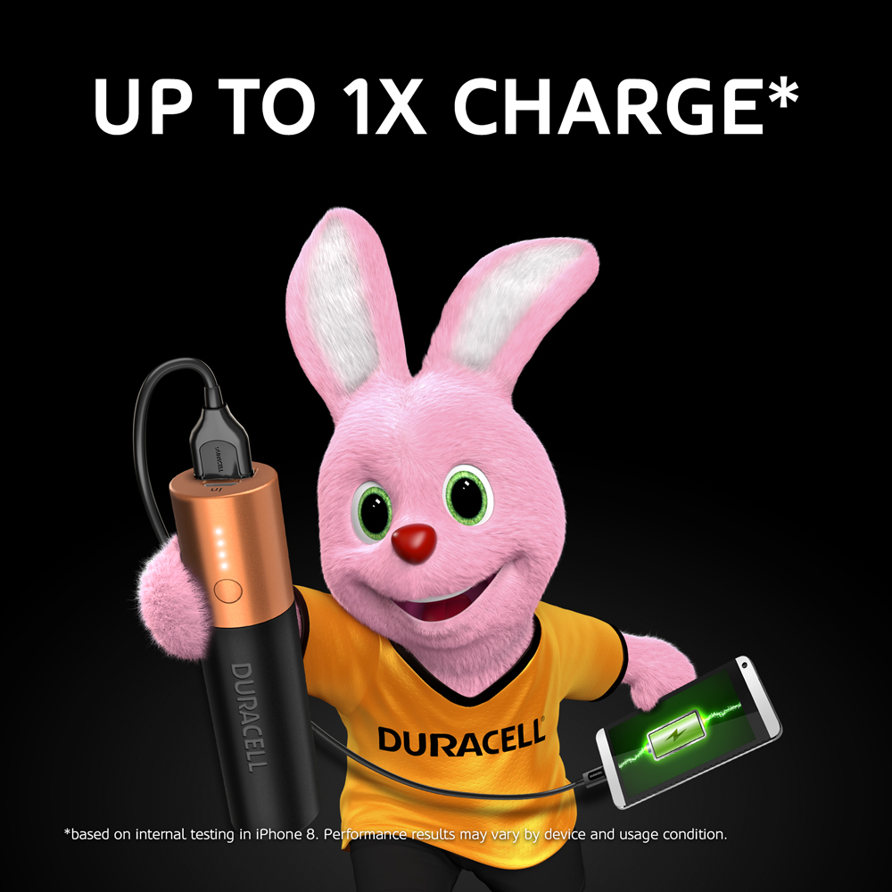 Duracell Pink Bunny holding Powerbank 3350mAh with which he powers up his mobile phone