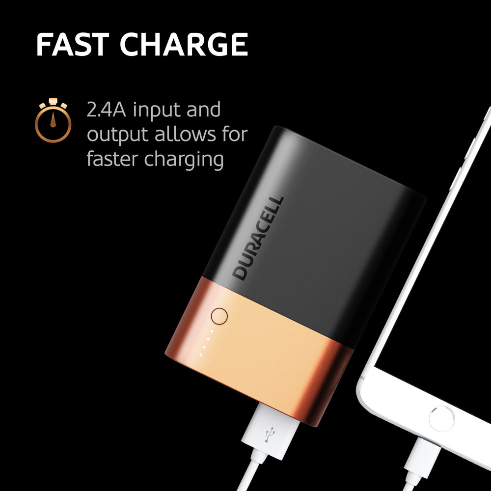 Duracell Powerbank 10050mAH charges fast a mobile device
