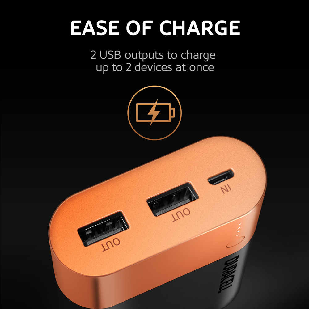 2 USB outputs to charge up to 2 devices at ones