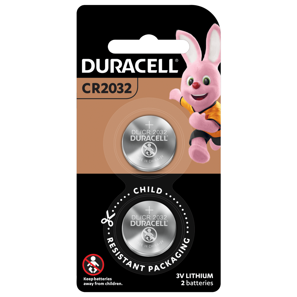Duracell 2032 Lithium Coin 3V Batteries in a 2-piece child safety pack