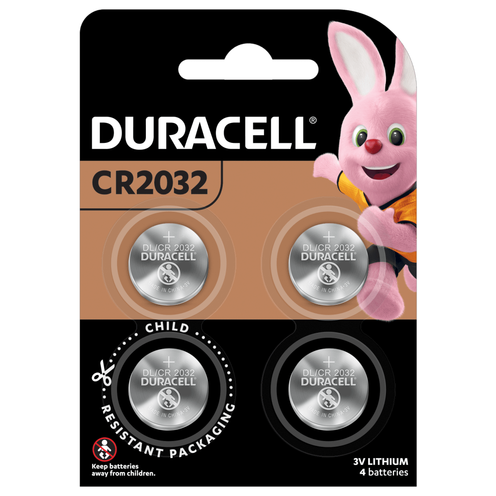 Duracell Lithium Coin 2032 Batteries in a 4-piece pack