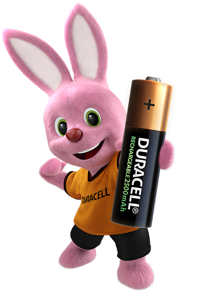 Duracell pink Bunny introduces Rechargeable AA sized Battery