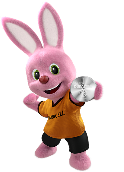 Bunny holding Duracell Specialty Lithium Coin 2016 Battery 3V