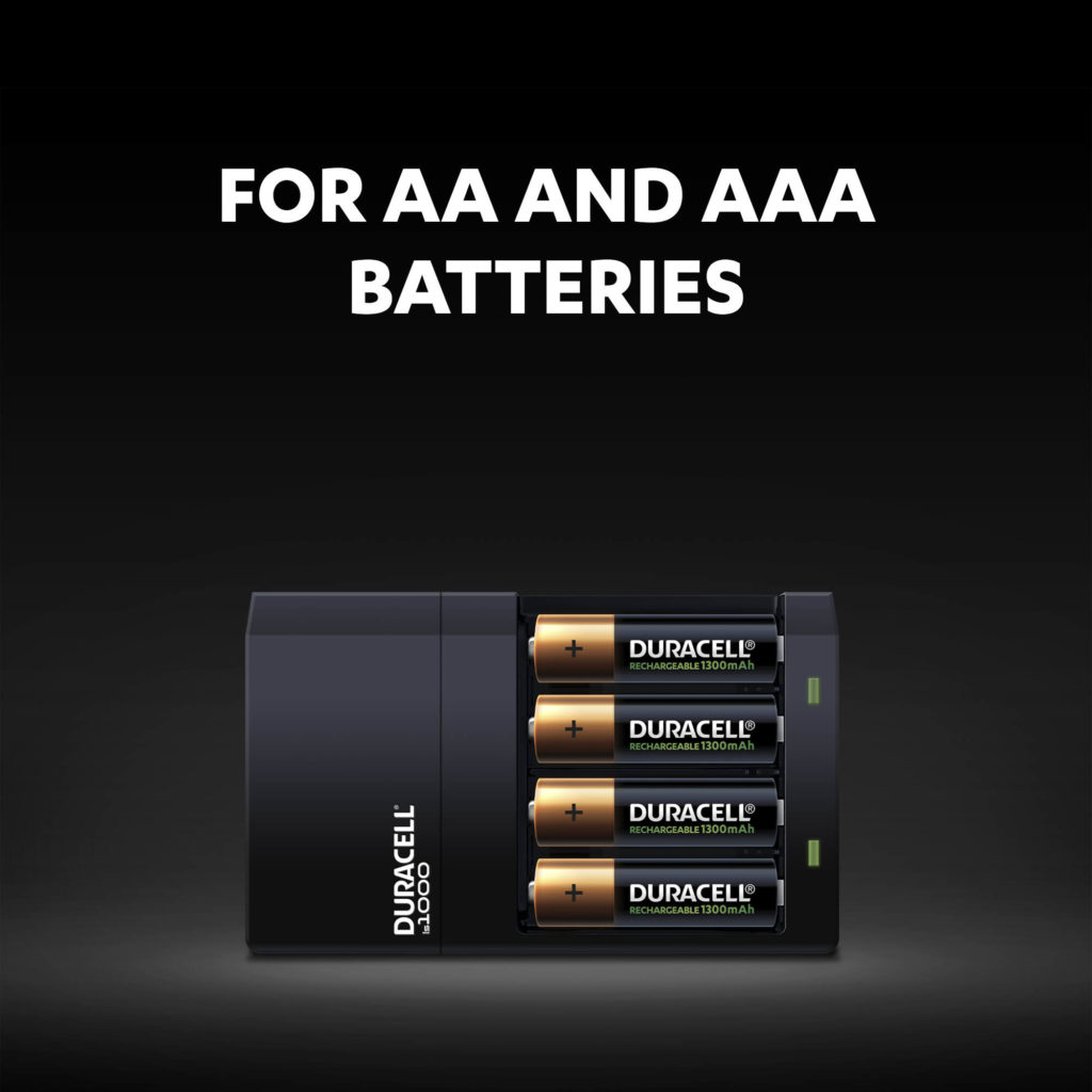 Duracell Hi-Speed Charger includes 2 slots for AA 1300mAh and two for the AAA 750mAh batteries
