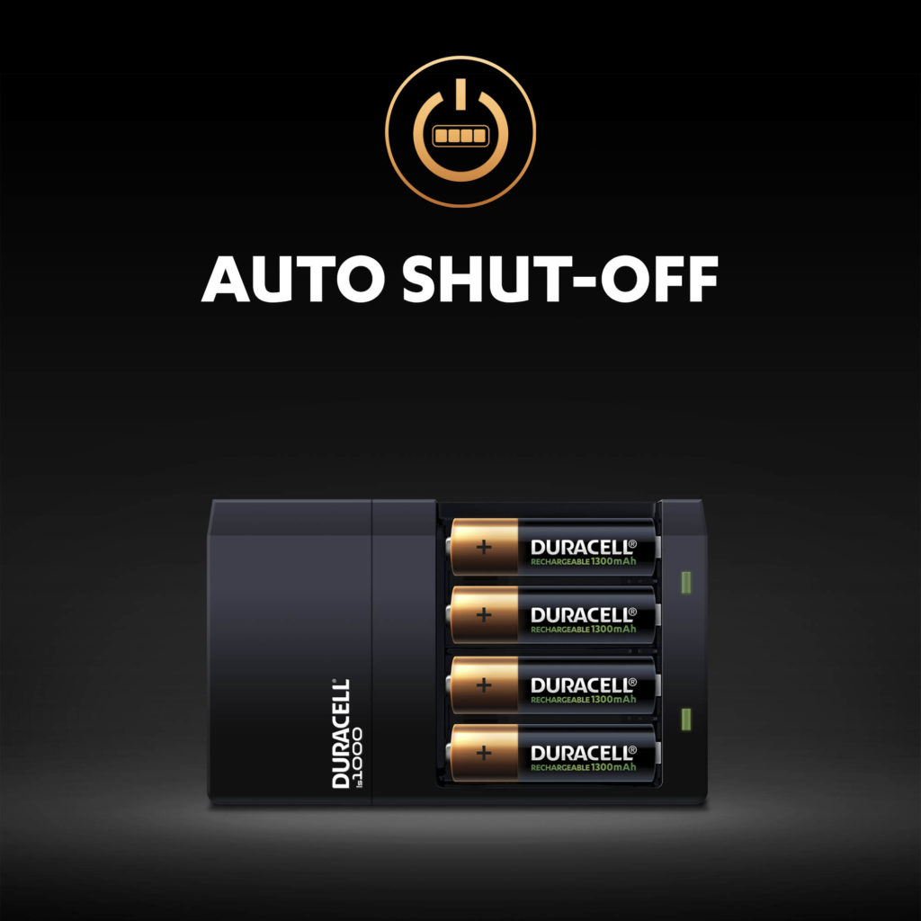 Auto Shut-off feature of Duracell Hi-Speed Charger - after batteries are completely charged illustration