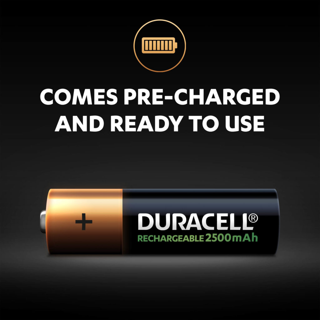Duracell Rechargeable AA Batteries of 2500mAh come pre-charged and ready to use