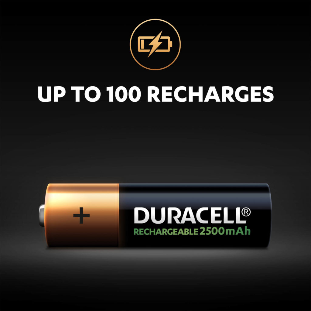 Duracell Rechargeable AA sized 2500mAh Battery can last up to 100 recharges