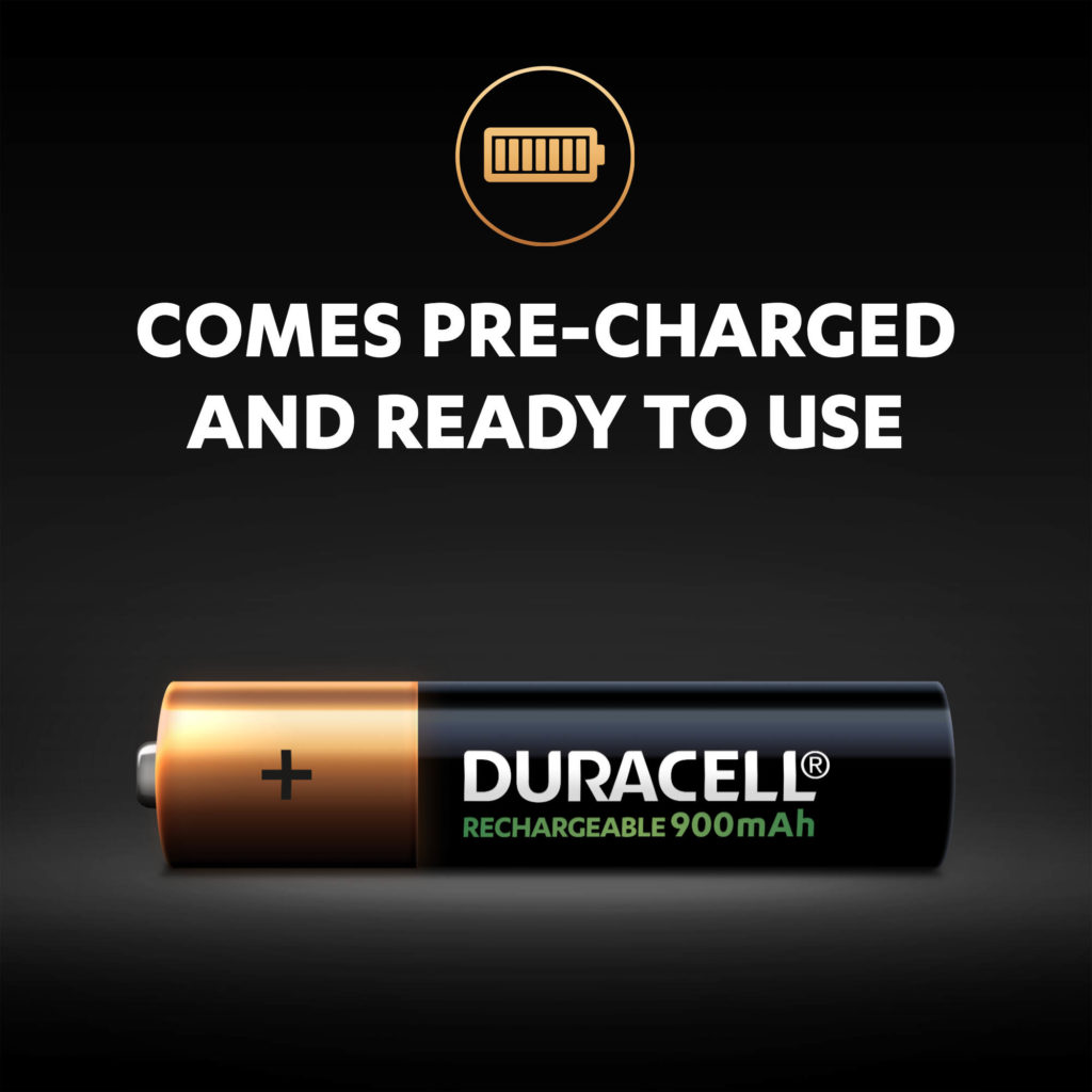 Duracell Rechargeable AAA sized 900mAh Batteries come pre-charged and ready to use
