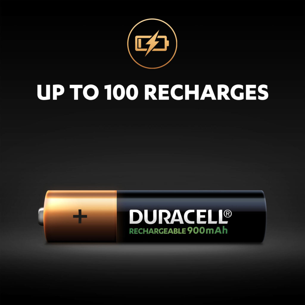 Duracell Rechargeable AAA batteries can be recharged up to 100 times