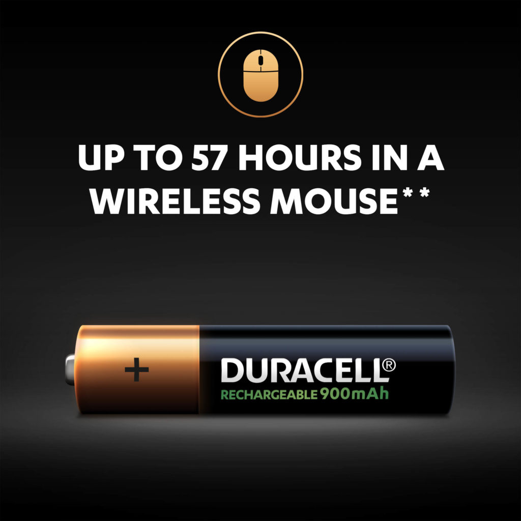 Duracell Rechargeable AAA batteries power up to 57 hours in a wireless mouse per one charge