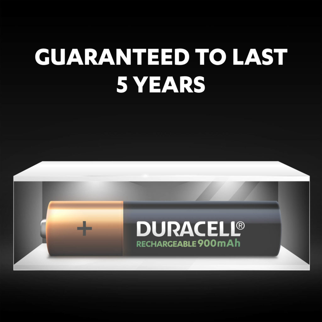 Duracell Rechargeable AAA sized Batteries stay fresh and powered for up to 5 years in ambient storage
