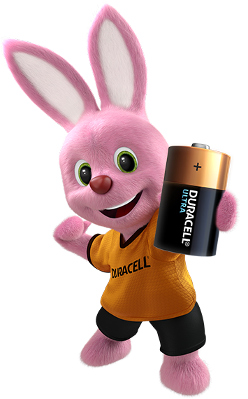 Duracell Bunny holding Duracell Ultra Battery in his hand